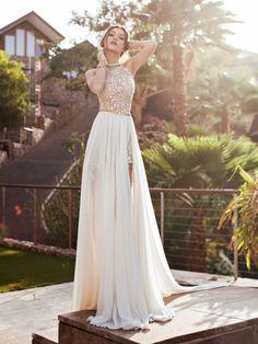 Chic A-line/Princess High Neck Applique Chapel Train Chiffon Wedding Dress