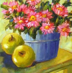 """Apples and Pink"" original fine art by Libby Anderson"