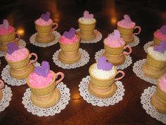 Tea cups for Tea Party birthday theme! — Children's Birthday Cakes made from ice cream cones, filled with cake and a shortbread cookie for base with candy melt glue to hold them together and for the handle.