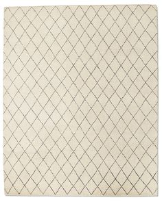 DARA RUG - IVORY  Hand knotted by master weavers in naïve lozenges and imperfect mismatched lines that reflect ancient Moroccan tribal rug patterns. Thick multicolor wool yarns lend an ultra-plush feel and variegated shading. Imported. Catalog and Web only.    5' x 7'	$1595  6' x 9'	$2395  8' x 10'	$3595  9' x 12'	$4895  10' x 14'	$6295