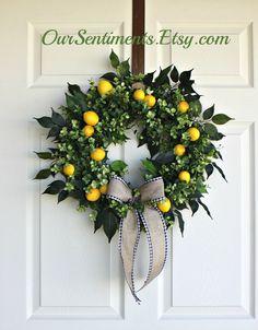 Yellow Wreath/Lemon Wreath/Year round wreaths/Etsy Wreath/Lemons/Spring Wreaths/Door Wreath by OurSentiments Front Door Decor, Wreaths For Front Door, Door Wreaths, Ribbon Wreaths, Yarn Wreaths, Tulle Wreath, Floral Wreaths, Burlap Wreaths, Boxwood Wreath