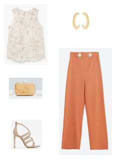 Ivory floral top+brick red whide pants+nude ankle strap heeled sandals+gold earrings+wood clutch. Summer Morning Wedding Outfit 2016