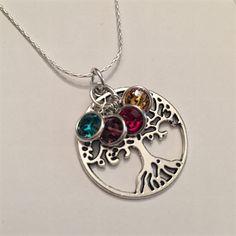 Mothers Necklace Custom Jewelry Personalized Jewelry Mothers Necklace Tree of Life Personalized Mothers Necklace Swarovski Birthstone Charms by HandmadewLovebyKCN on Etsy