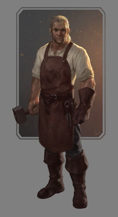 Jonathan Jericho, the blacksmith. Character concept for HyperRPG. Character Creation, Fantasy Character Design, Character Concept, Character Inspiration, Character Art, Concept Art, Fantasy Male, Fantasy Rpg, Medieval Fantasy