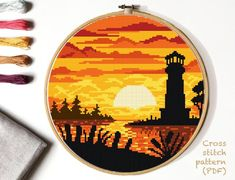 Lighthouse Cross Stitch Pattern, landscape counted cross stitch chart, sea, sunset cross stitch, h Modern Cross Stitch Patterns, Cross Patterns, Hand Embroidery Patterns, Counted Cross Stitch Patterns, Cross Stitch Designs, Cross Stitch Embroidery, Cross Stitch Kits, Cross Stitch Charts, Cross Stitch Love