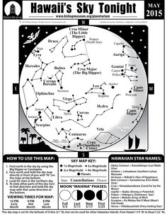 Star Maps Of The Hawaiian Sky For Each Month And The Sunrise And Sunset Times For The Hawaiian Islands Are Available Online