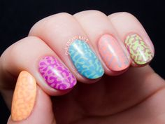 Neon mix-up stamping nail art by @chalkboardnails