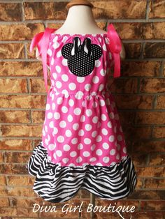 Girls Boutique Minnie Mouse Birthday Dress by divagirlboutique, $55.50