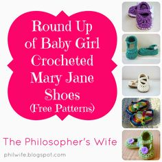 crochet baby sandals in the round | Round Up of Baby Girl Crocheted Mary Jane Shoes (Free Patterns)