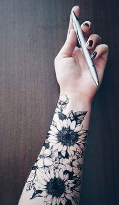 Sunflower Temporary Tattoo - MyBodiArt.com