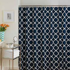 Product image for Jill Rosenwald Hampton Links Shower Curtain in Navy/White