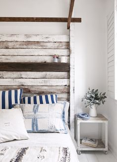 Rustic Bedroom With Salvaged Wood Headboard. Master bedroom home decor ideas, bedroom sets, contemporary furniture, home furniture, master bedroom furniture Bedroom Setup, Home Bedroom, Bedroom Decor, Master Bedroom, Bedroom Wall, Bedroom Lighting, Bedroom Ideas, Nautical Bedroom, Bedroom Designs