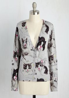 A Mew-ment Like This Sweater - Grey, Novelty Print, Casual, Critters, Long Sleeve, Summer, Better, V Neck, Mid-length, Multi, Cats