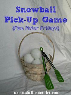 Snowball Pick-Up & Transfer Game - A fun way to practice fine motor skills! | Stir The Wonder