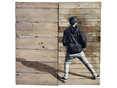 Boy with back to us. Shadow. By #Strok #streetart