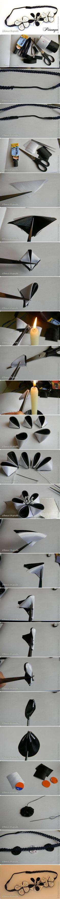 DIY Dual Color Ribbon Flower