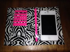 Handmade duct tape iPhone wallet case with 6 card slots, hidden pocket for cash and a clear place for your iPhone 4 or 4s. on Etsy, $10.00 CAD