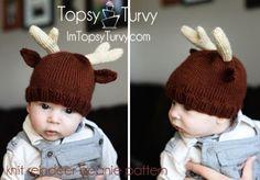 free pattern knit reindeer baby beanie
