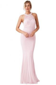 Light Dusky Pink Floor-Length Fishtail Dress with embellished Halter-Neckline perfect for prom and black tie occasions Ladies Day Dresses, Party Dresses For Women, Prom Party Dresses, Dresses Uk, Evening Dresses, Dress Prom, Occasion Wear Dresses, Phase Eight Dresses, Maxi Bridesmaid Dresses