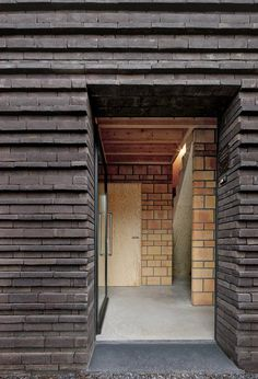 Ribbed brickwork covers the facade of this house in Belgium Brick Cladding, Brick Facade, Brick Design, Facade Design, Brick Images, Brick Works, Brick Detail, Brick Architecture, Brick Tiles