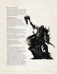 Barbarian Path of the Prehistoric Warrior (by The Middlefinger of Vecna) Dungeons And Dragons Rules, Dungeons And Dragons Homebrew, High Fantasy, Fantasy Rpg, Science Fiction, Dnd Classes, Dnd Races, Dnd 5e Homebrew, Dnd Monsters