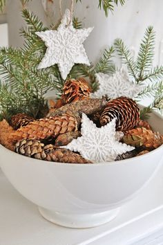 Potpourri idea: cinnamon sticks and glittered stars, spiked with pine cones and sprigs in white ironstone bowl...