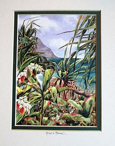 #Vintage #Signed #Print #Peggy #Chun #Watercolor #Landscape Road To Hana '95 #Hawaii #Realism #art #artwork #home #homedecor