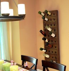 "Wall Mounted Wine Rack (40 Bottle) by Kentucky Wine Racks, Inc.. $250.00. Size: 21.5"" Wide x 2.5"" Deep x 57.5"" High. Easy to hang D rings mounted on the back. Stores up to 40 bottles. Made in the USA. Color: Danish Walnut. Rustic 40 Bottle Wine Rack Display will look great in any room in the house!  The vintage wine rack can be used to display your favorite empty or full bottles.  The 100% natural and solid wood rack is made from kiln dried poplar lumber and is stained i..."