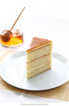 Honey Butter Cake | honey cake with honey cream cheese frosting topped with a honey butterscotch glaze.