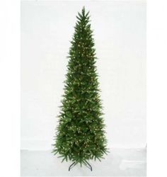 6017287080aa Aspen Slim Green Pine 230cm/7ft 6in Pre-Lit PE Artificial Christmas Tree  with