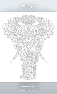 Pattern Coloring Pages, Free Adult Coloring Pages, Animal Coloring Pages, Coloring Book Pages, Coloring Sheets, Elephant Coloring Page, Elephant Colour, Mode Shop, Stuffed Animal Patterns