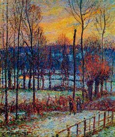 The Effect of Snow, Sunset, Eragny by Camille Pissarro Hand Painted Oil Painting is part of Oil painting Impressionism - Camille Pissarro The Effect of Snow, Sunset, Eragny hand painted oil painting reproduction on canvas by artist Paul Cezanne, Claude Monet, Impressionist Paintings, Landscape Paintings, George Seurat, Camille Pissarro Paintings, Pissaro Paintings, Gustave Courbet, Art Moderne