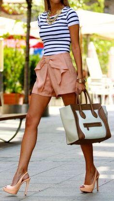 Nautical Stripes & Bow Shorts <3