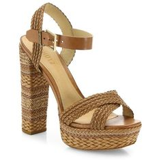 Schutz Lorah Braided Leather Platform Sandals ($240) ❤ liked on Polyvore featuring shoes, sandals, desert, high heeled footwear, high heel shoes, woven sandals, schutz shoes and high heel platform shoes