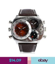 Wristwatches Oulm Mens Fashion Military Army Dual Time Zones Quartz Wrist Watch Leather Gift #ebay #Fashion