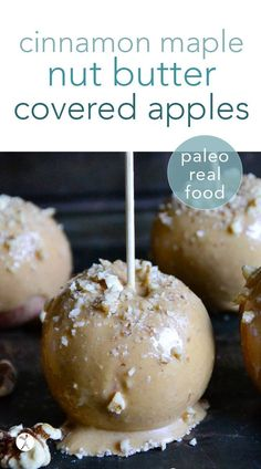 All the flavors of fall converge in these easy, real food cinnamon maple nut butter covered apples. Perfect for kids and adults needed a healthy, delicious paleo treat! #paleo #cinnamon #nutbutter #apples #treats #dessert #healthy Best Gluten Free Recipes, Gluten Free Snacks, Sweet Recipes, Real Food Recipes, Cooking Recipes, Yummy Food, Primal Recipes, Cooking Tips, Vegetarian Recipes