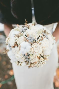 Beautiful cotton bouquet //www.stylemepretty.com/california-weddings/2014/05/09/cozy-union-hill-inn-wedding/