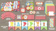 Printable Circus Birthday Party Package | DIY | Circus Ticket Photo Invitation | Decor | Decorations | Carnival | Kids Birthday Party Idea | 25 items! | Banner | Signs | Favor Tags | Cupcake Toppers | Water Bottle Labels | Goodie Bag/treat bag toppers | Food label tent cards | www.dazzleexpressions.com