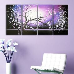 'Purple Abstract Flowers Art' Hand Painted Canvas Art (4 Piece) - Overstock™ Shopping - Big Discounts on DESIGN ART Canvas