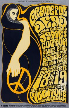 Concert poster for the Grateful Dead at the Fillmore, San Francisco, 1966. Artwork by Wes Wilson.