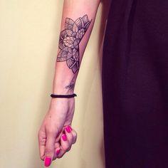 Mandala tattoo by Caroline Karénine ( Paris) - woman wrist tattoo