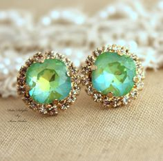 Mint green apple Rhinestone stud earrings,Bridal jewelry,gift for woman - 14k very Thick plated gold earrings real swarovski rhinestones.