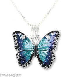 Zarah Blue Morpho Butterfly Necklace 18 Sterling Silver Chain - Discontinued