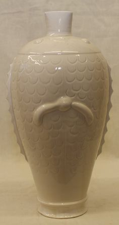 Dingyao vase in a form of 2 fish. Song Period. Height 11 1/4 inches (28.6 cm.)