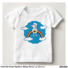 Colorida Oveja Tejedora. Sheep. Arcoiris, rainbow. Baby, bebé. Producto disponible en tienda Zazzle. Vestuario, moda. Product available in Zazzle store. Fashion wardrobe. Regalos, Gifts. #camiseta #tshirt
