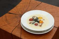 Local Silver Queen Corn Soup: fresh curry leaves, heirloom tomatoes | Lantern | Chapel Hill, NC | Photo: Allison Mannella