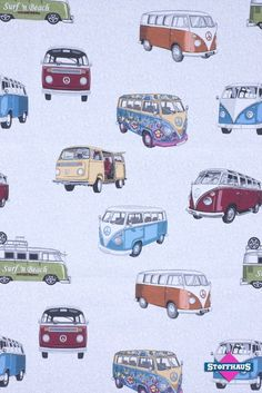 stoffhaus vw fabric Volkswagen Bus, Vw T1, Vw Camper, Campers, Combi Hippie, Vw Accessories, Hippie Party, Apple Watch Wallpaper, Combi Vw