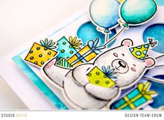 Studio Katia: A Birthday Card with a Mix of Stamps