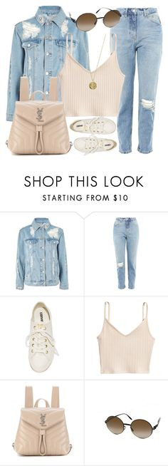"""Denim"" by monmondefou ❤ liked on Polyvore featuring Topshop, Converse, Yves Saint Laurent, Mykita, Senso and denim"