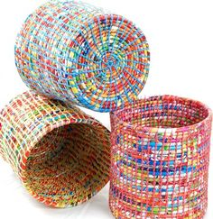 DIY: 5 ideas para reciclar bolsas de plástico Braided baskets with crochet and plastic bags, another form of recycling – spiralfoundation …. Plastic Bag Crafts, Plastic Bag Crochet, Recycled Plastic Bags, Recycled Art, Plastic Baskets, Recycled Plastic Products, Recycled Materials, Fused Plastic, Recycled Magazines